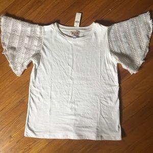 White Anthropologie t-shirt w/ fringe sleeves